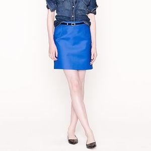 J Crew Classic Royal Blue Cotton Blend Mini Skirt